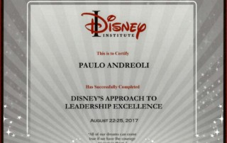 Diploma do curso de Liderança do Disney Institute