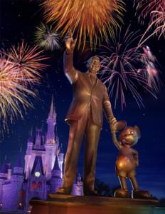 Os parceiros, Walt Disney, e seu alter ego, Mickey Mouse. Esta estátua pode ser vista no Hub Central do parque Magic Kingdom