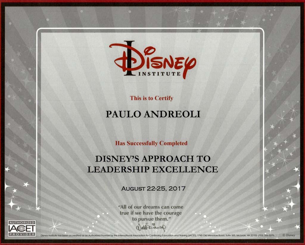 Diploma do curso de Liderança do Disney Institute